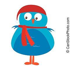 cute bird christmas isolated icon