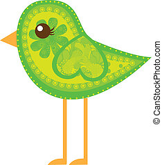 cute bird - green cute bird with ornaments isolated over...