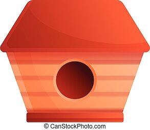 Cute bird house icon, cartoon style