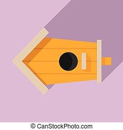 Cute bird house icon, flat style