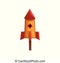 Cute bird house, nesting box cartoon vector Illustration on a white background