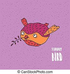 Cute bird in flight in handmade cartoon style