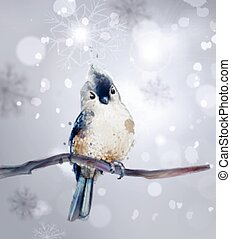 Cute bird on a branch watercolor Vector. Winter snowy beautiful backgrounds