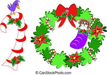 Cute Bird on a Candy Cane and Racco