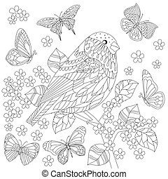 cute bird on branch of tree for your coloring page