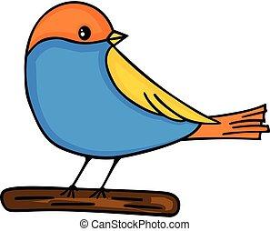 Cute bird on wooden