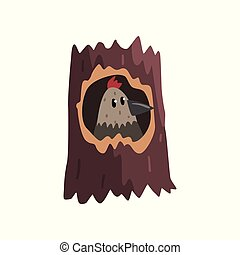 Cute bird sitting in hollow of tree, hollowed out old tree and cute nestling cartoon character inside vector Illustration on a white background