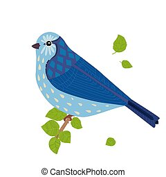 cute bird sitting on branch for your design