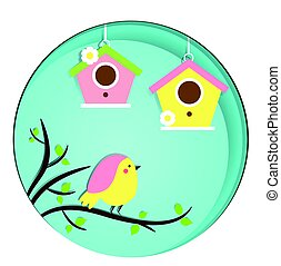 Cute Bird sitting on tree branch. Birdhouses. Vector banner in paper cut, paper carve, paper craft style