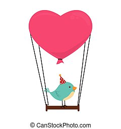 cute bird with balloon card icon