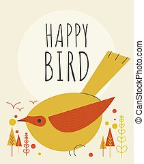 Cute bird with flowers and plants greeting card