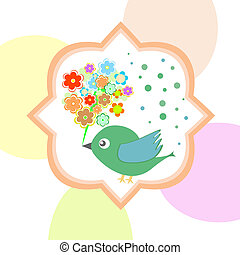 cute bird with flowers happy autumn