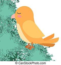 cute bird with leafs