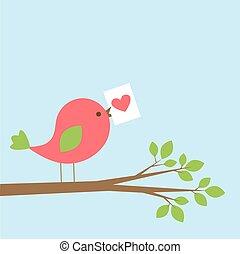 Cute bird with Valentine card on branch