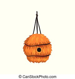 Cute birdhouse made of straw, nesting box cartoon vector Illustration on a white background