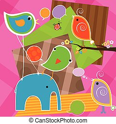 cute birds and elephant with bubbles speech