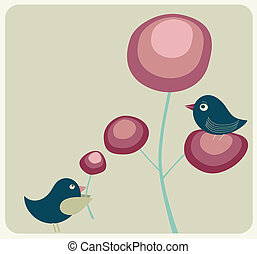 cute birds and flowers