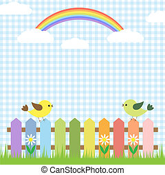 Cute birds and rainbow.Vector card design