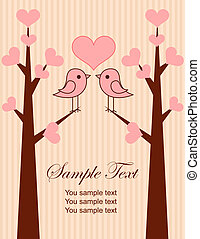 Cute birds couple place card. Vector Illustration
