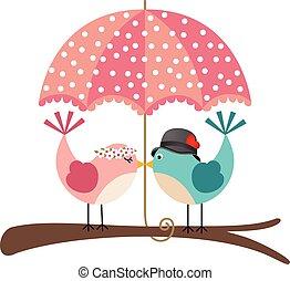 Cute birds couple under umbrella - Scalable vectorial image...
