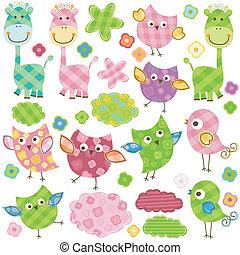 cute birds & giraffes - cute happy birds & giraffes set for...