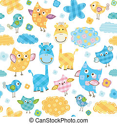 cute birds & giraffes seamless pattern