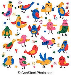 Cute birds. Hand drawn colorful little birds, doodle songbird characters, nature forest bird childish isolated vector illustration set