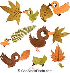 Cute birds holding dry leaves