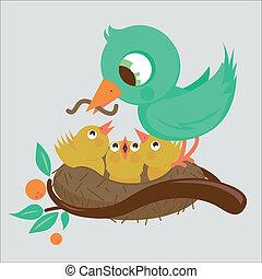 Cute birds in the nest