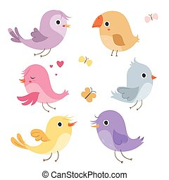 Cute birds in vector.