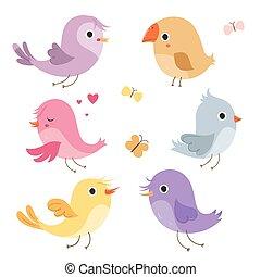 Cute birds in vector.