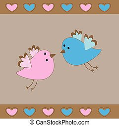 Cute birds love card.