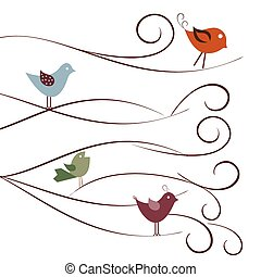 Cute birds on tree branches