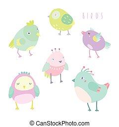 Cute birds set.