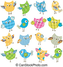 cute birds set - cute colorful happy birds set