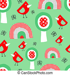 Cute birds trees and rainbow seamless pattern for kids. Collage style childish background for children in red green and white. Use for fabric, kids decor, wallpaper, nursery, gift wrap, Easter, spring