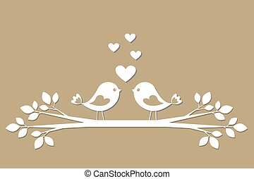 Cute birds with hearts cutting from paper. Stylish vector...