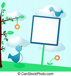 Cute birds with sign