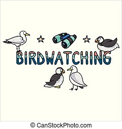 Cute birdwatching seabirds cartoon vector illustration motif set. Hand drawn isolated seaside wildlife elements clipart for nautical blog, starfish graphic, ocean web buttons.