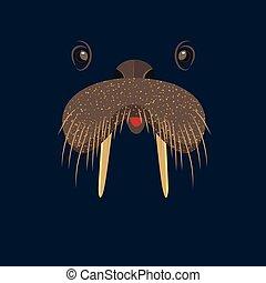 Cute birthday baby sticker with animals walrus