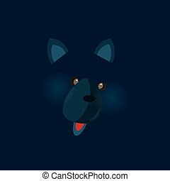 Cute birthday baby sticker with animals wolf
