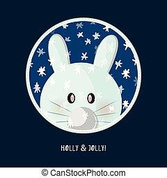 Cute birthday baby sticker with rabbit
