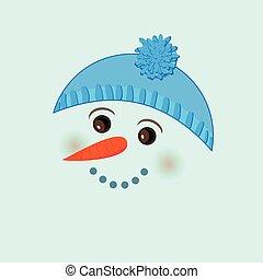 Cute birthday baby sticker with snowman