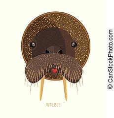Cute birthday baby sticker with walrus