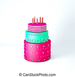 Cute birthday cake with three layers on a white background