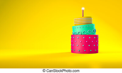 Cute birthday cake with three layers on a yellow background