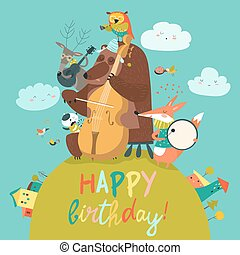 Cute Birthday card with animals and music - Vector cute...