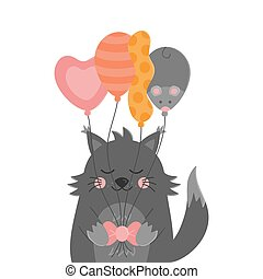Cute birthday cat with balloons