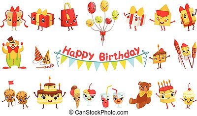 Cute Birthday Party Celebration Related Objects Characters Set
