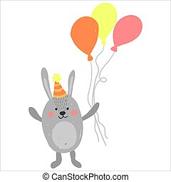 Cute birthday rabbit with baloons